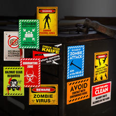 Carteles magneticos de advertencia de zombis